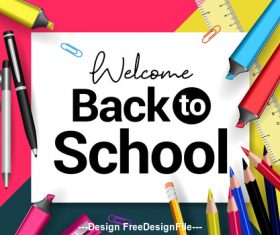 Back to school and accessories cover vector