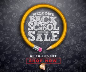 Back to school and student supplies sales design vector