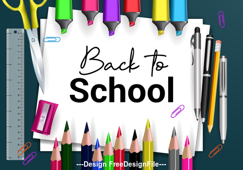 Back to school cover and pencil vector