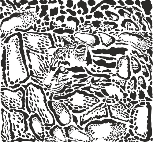 Background with leopard skins and head vector