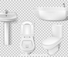 Bathroom supplies toilet bathtub etc vector