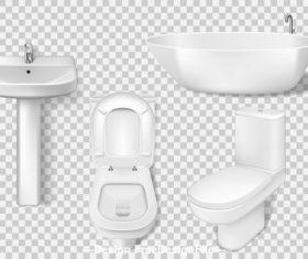 Bathroom supplies toilet bathtub etc vector