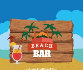 Beach bar billboard vector