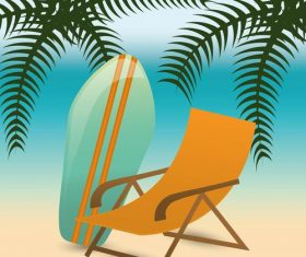 Beach chair and surfboard vector