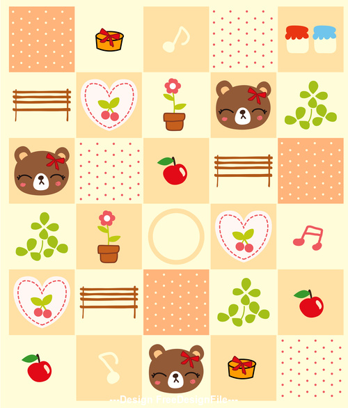 Bear and flower background pattern vector