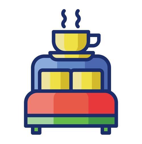 Bed and breakfast cartoon vector