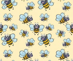Bee cartoon background pattern vector