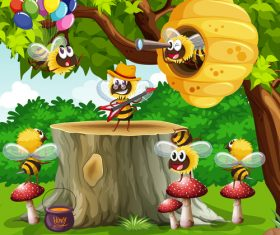 Bees flying around the tree vector