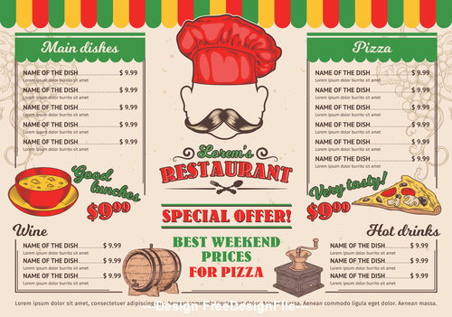 Best weekend prices menu template vector
