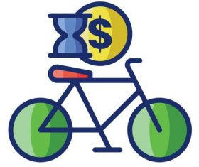 Bicycle rental cartoon vector