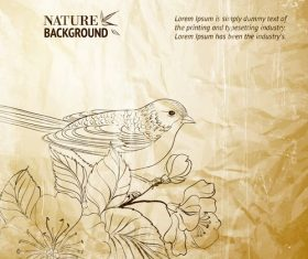 Bird and flower background pattern vector