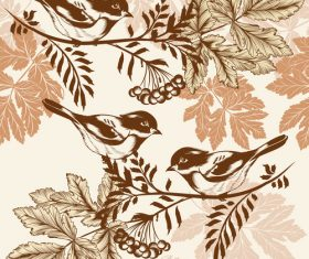 Bird on embroidery tree vector