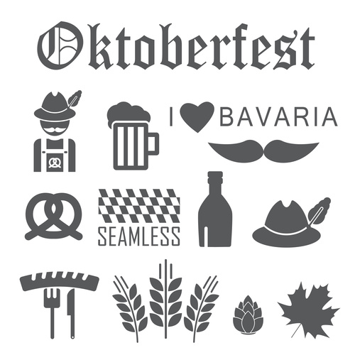 Black and white Octoberfest icon set vector