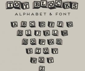 Black and white blocks alphabet Vector