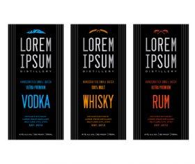 Black background Liquor labels vector