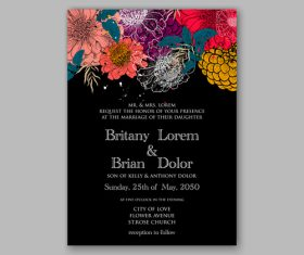 Black background floral wedding invitation template vector 01