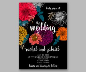 Black background floral wedding invitation template vector 02