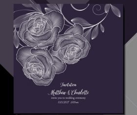 Black background flower wedding invitation card vector