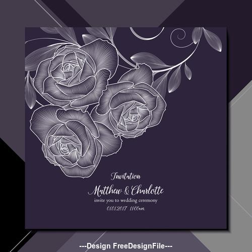 Black Background Flower Wedding Invitation Card Vector Free