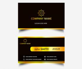 Black background gold horizontal bar business card design vector