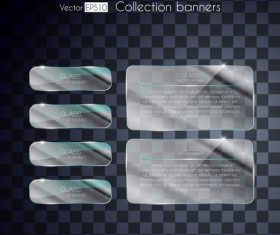 Black background white glass banners vector