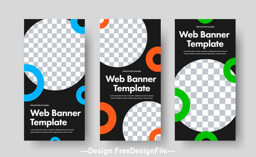 Black background white round web banners vector