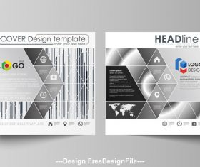 Black geometric templates for bi fold brochure vector
