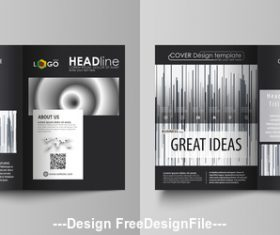 Black stripes templates for bi fold brochure vector