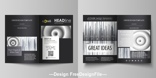 Black stripes templates for bi fold brochure vector