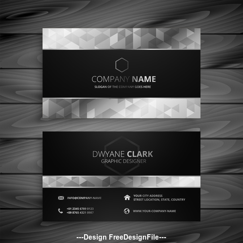 Black white geometric premium business card design vector