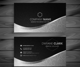 Black white premium business card design vector