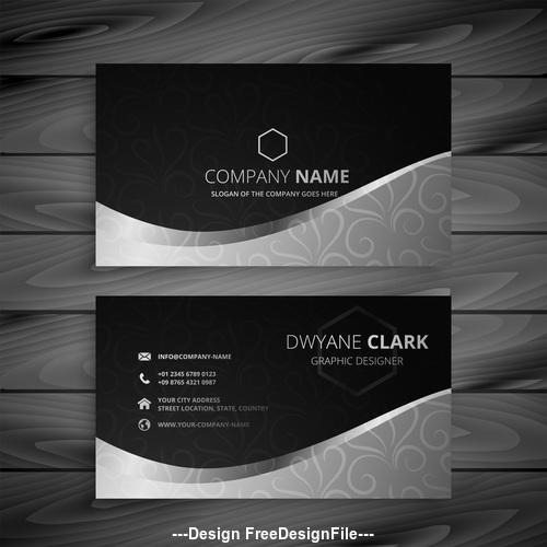Black white premium business card design vector