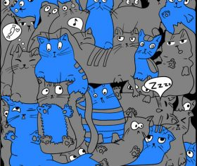 Blue and black cats seamless background pattern vector