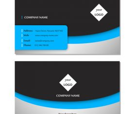 Blue and black graphic business card design vector