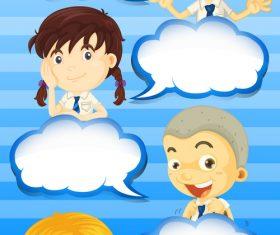 Blue background cartoon children dialogue vector