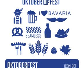 Blue background color octoberfest icon vector