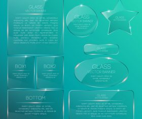 Blue background glass banners vector