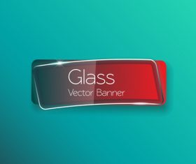 Blue background red glass banner vector
