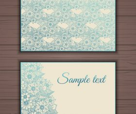 Blue floral ornamental business card vector