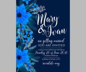 Blue floral wedding invitation template vector