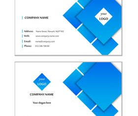 Blue geometric graphic card design vector