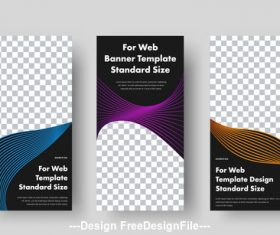 Blue gold and purple web banners with space vector
