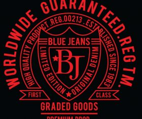 Blue jeans label vector