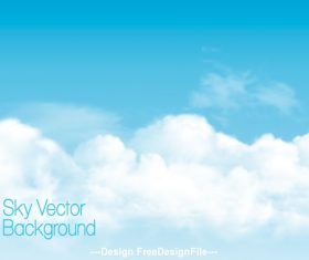 Blue sky background with white transparent clouds vector