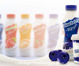 Blueberry flavored skim yogurt commercial vector advertising vector