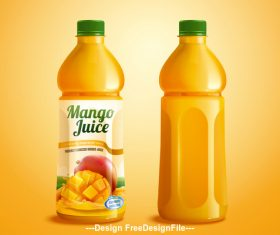 Bottled Mango juice ads vector illustration