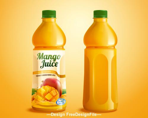 Bottled Mango juice ads vector illustration