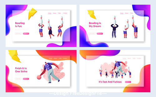 Bowling and basketball flat banner vector