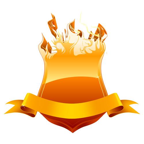 Burning shield vector