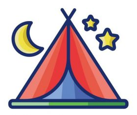 Camping cartoon vector